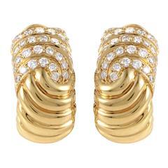 Boucheron Diamond Gold Huggie Earrings