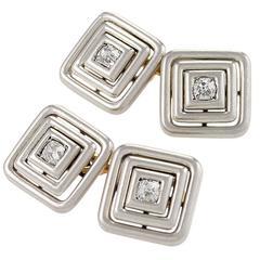 Art Deco Diamond Gold Platinum Cuff Links