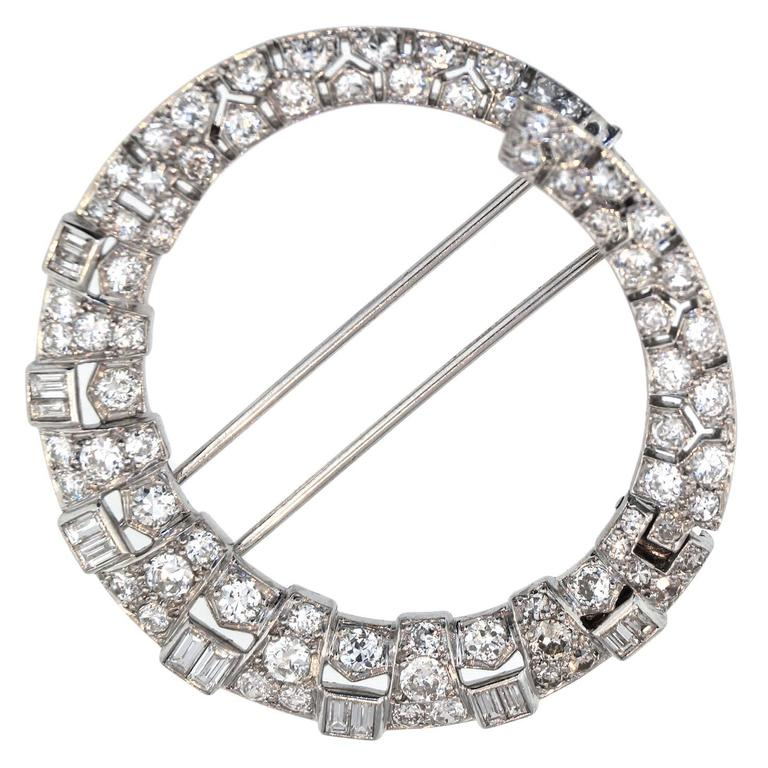 "Art Deco Van Cleef & Arpels ""Anneau Magique"" Diamond Platinum Brooch"