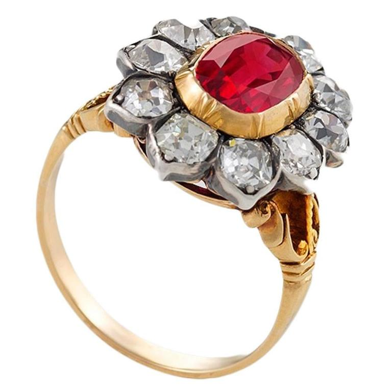 Antique Ruby Diamond silver gold Ring For Sale at 1stdibs