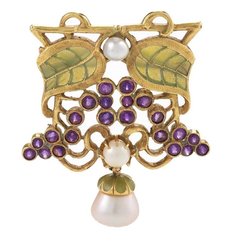 Louis Zorra Art Nouveau Diamond Amethyst Pearl and Plique-à-Jour Enamel Brooch