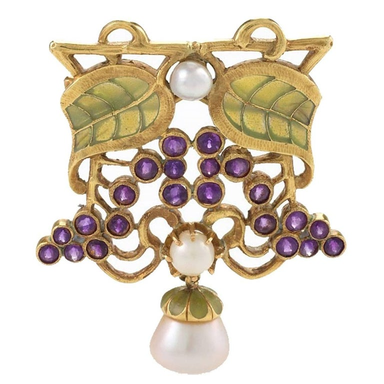 Louis Zorra Art Nouveau Diamond Amethyst Pearl and Plique-à-Jour Enamel Brooch For Sale