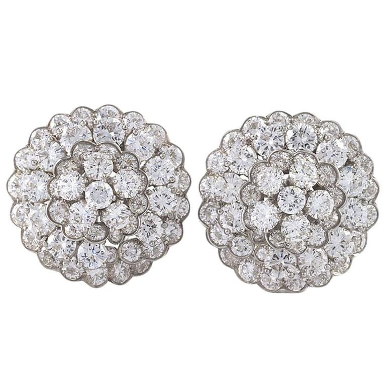 Van Cleef & Arpels 1980s Diamond, Platinum and Gold Earrings