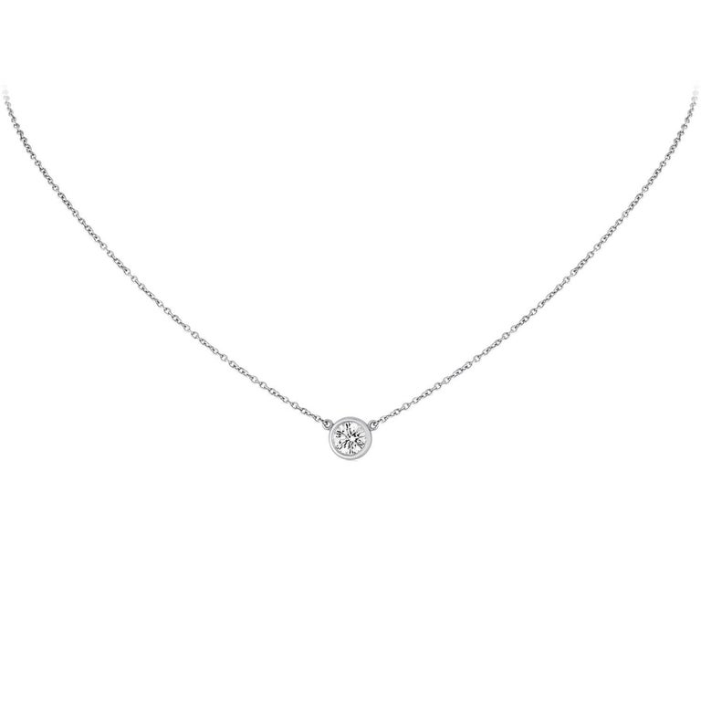 4d47354ec IGI Certified Tiffany & Co. 0.55 Carat Diamond Solitaire Platinum Necklace  For Sale