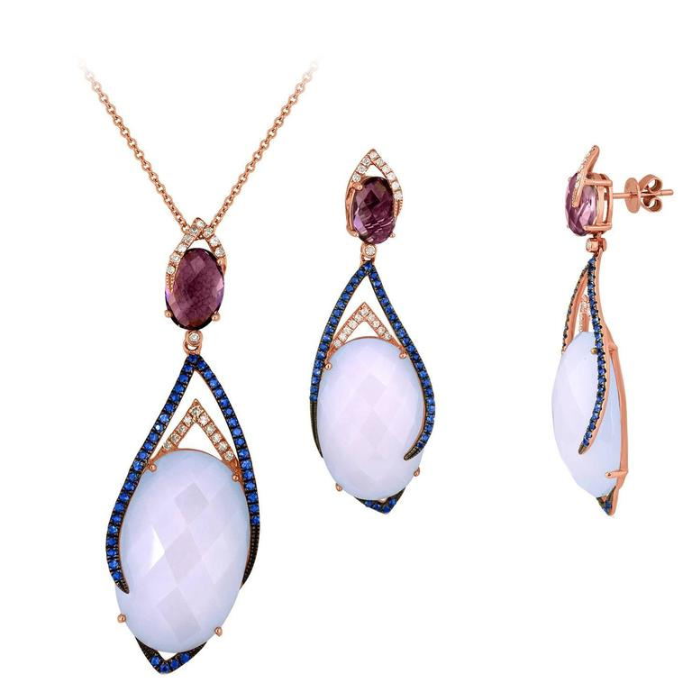 Chalcedony and Amethyst Earrings and Necklace Set