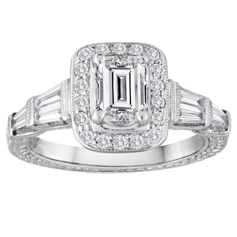 GIA Certified 0 70 Carat F VS2 Emerald Cut Diamond Gold Filigree