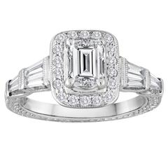 GIA Certified 0.70 Carat F VS2 Emerald Cut Diamond Gold Filigree Ring