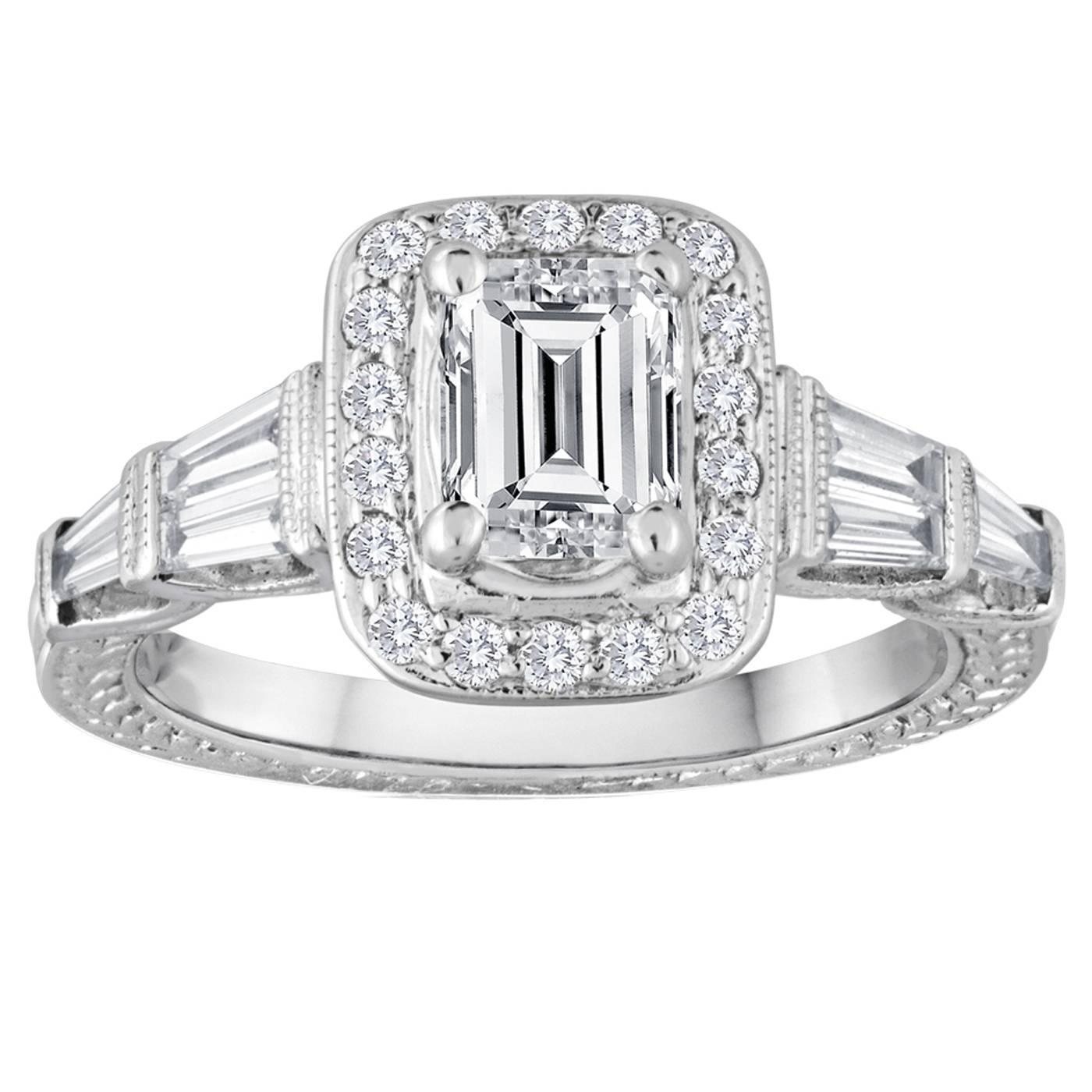 GIA Certified 0 70 Carat F VS2 Emerald Cut Diamond Gold Filigree