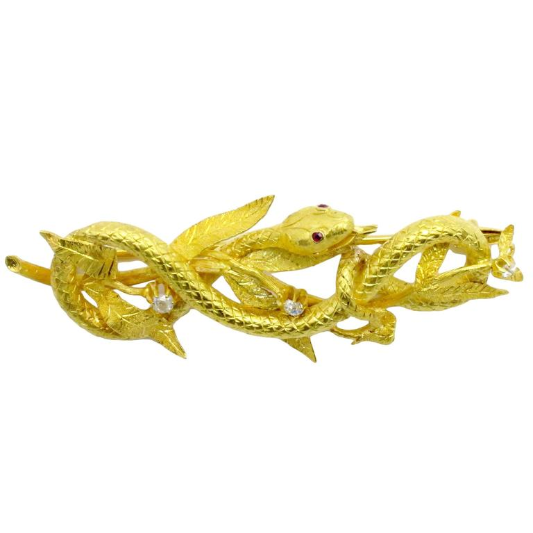 Late 19th Century Diamond, Ruby & Bloomed Gold Coiled Serpent