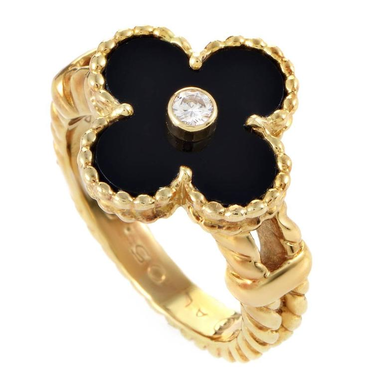 Van Cleef & Arpels Alhambra Diamond and Onyx Gold Ring For Sale