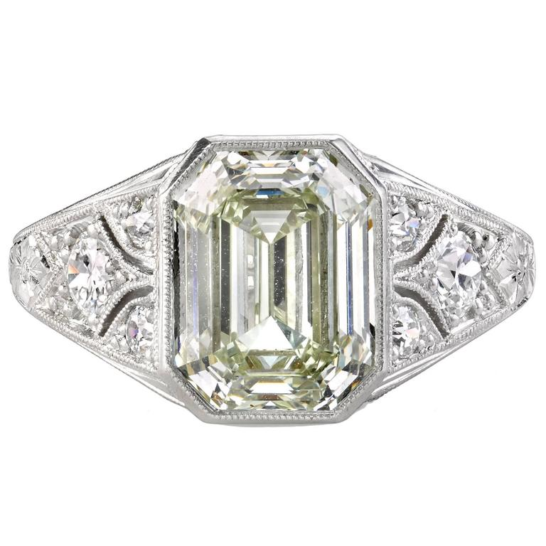 3 06 Carat Emerald Cut Diamond platinum Engagement Ring at 1stdibs