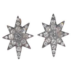 Antique Diamond Silver Gold Eight Point Star Cluster Earrings