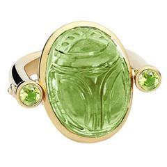 Colleen B. Rosenblat peridot Scarab  Gold ring