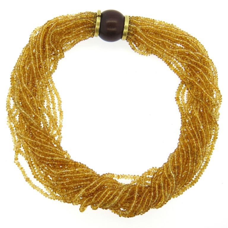 Trianon Wood Citrine Gold Multi Strand Necklace