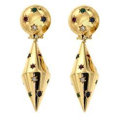 Blue Sapphire Red Ruby Green Emerald Diamonds Yellow Gold Dangle Earrings