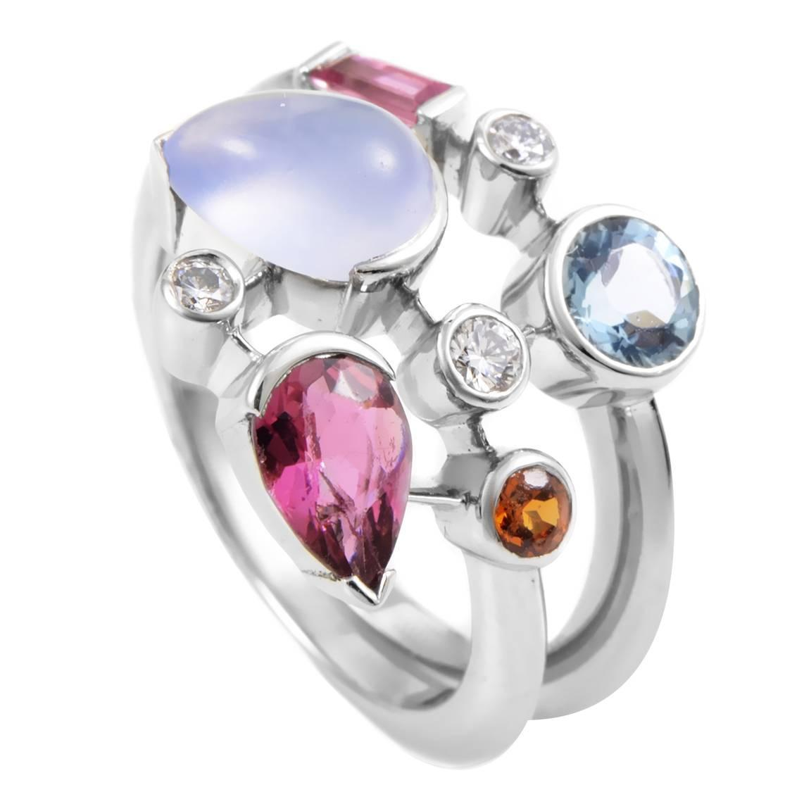 cartier meli melo platinum multi gemstone ring for sale at