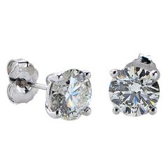 2.28 Carats Diamonds Gold Stud Earrings