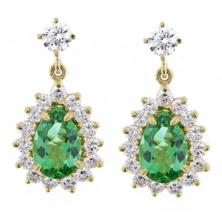 Tiffany Co Brazilian Paraiba Tourmaline Diamond Gold Earrings For