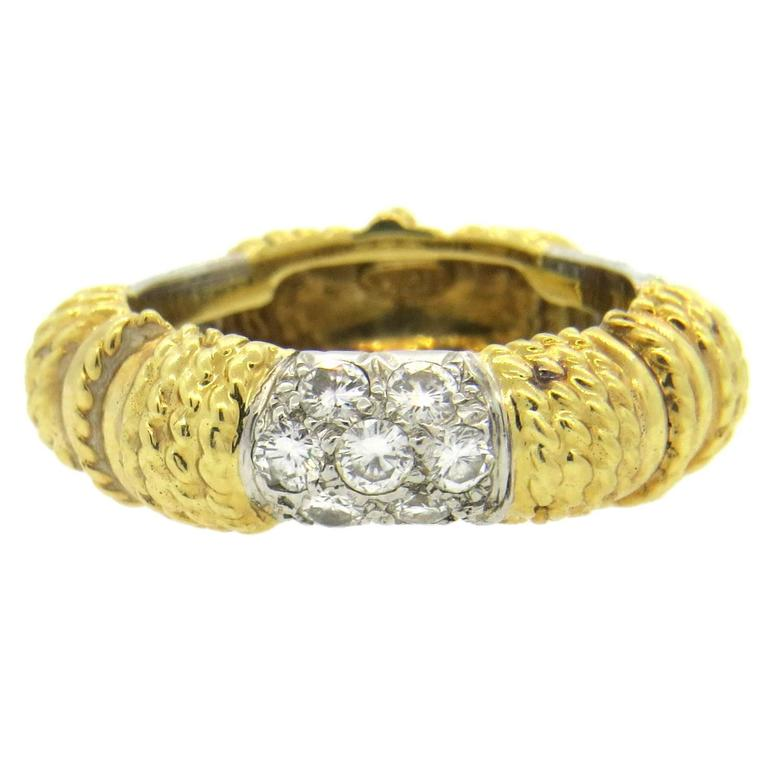 1970s Tiffany & Co. Diamond Gold Band Ring  For Sale