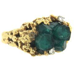 Free Form 1970s Gold Diamond Chatham Emerald Ring