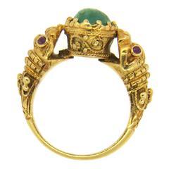 Zolotas Greece Emerald Ruby Gold Chimera  Ring