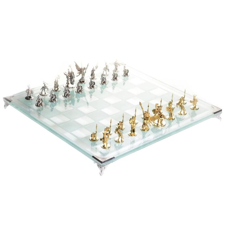 White and Yellow Gold Tempered Glass Chess Set For Sale