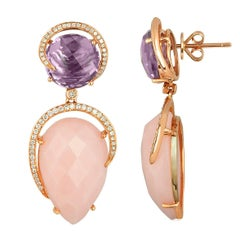 26.13 Carats Pink Opal Amethyst Diamond Rose Gold Drop Earrings