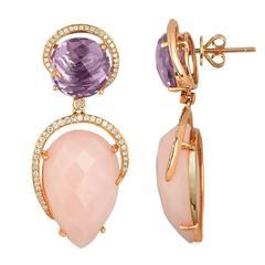 Pink Opal Amethyst Diamond Rose Gold Drop Earrings
