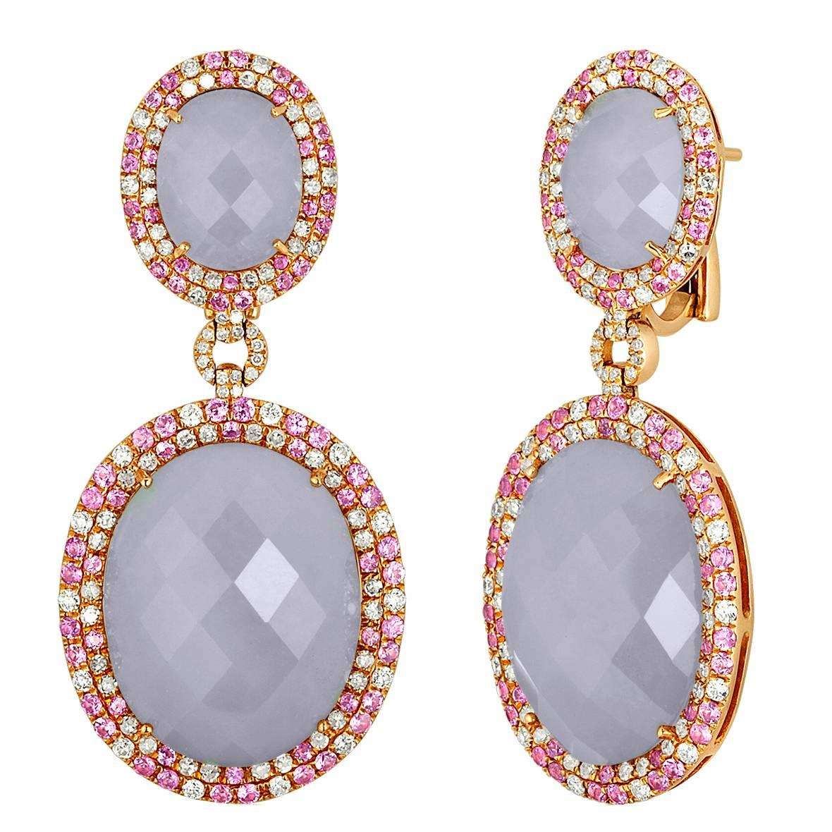 49.31 Carats Chalcedony Pink Sapphire & Diamond Rose Gold Earrings