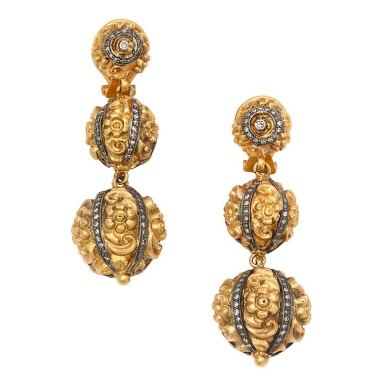Gold Diamond Topiary Earrings
