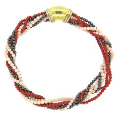 Chaumet Coral Hematite Gold Multi Strand Necklace