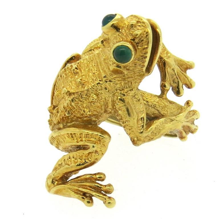 Whimsical Kurt Wayne Emerald Gold Frog Ring at 1stdibs