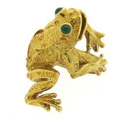 Whimsical Kurt Wayne Emerald Gold Frog Ring