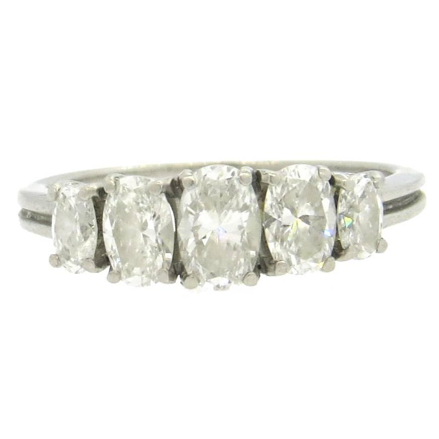 Classic 1950s Oval Diamond Platinum Five Stone Ring At 1stdibs