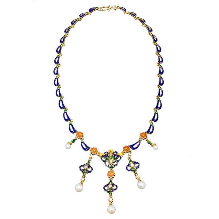French Enameled Pearl Diamond Gold Byzantine Style Necklace For Sale