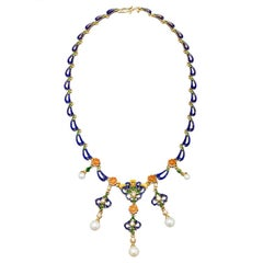 French Enameled Pearl Diamond Gold Byzantine Style Necklace