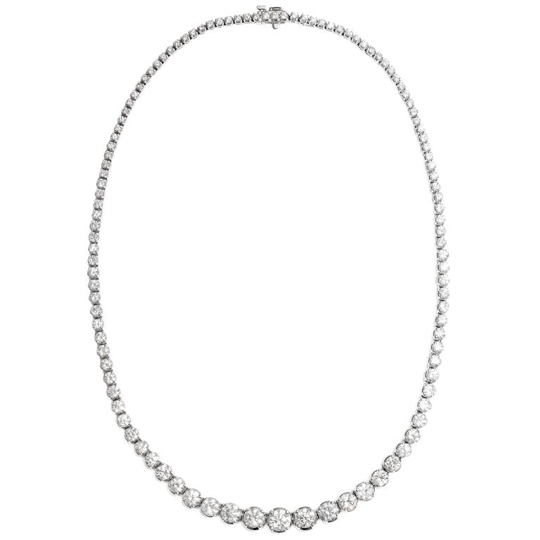 Classical Diamond Gold Riviere Link Necklace