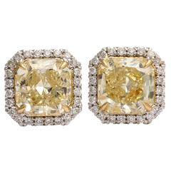 Amazing Yellow and White Diamond Earring Studs
