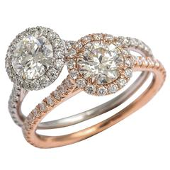Brilliant Diamond Gold Halo Engagement Rings
