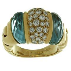 BULGARI Ganci Diamond Aquamarine Yellow Gold Ring