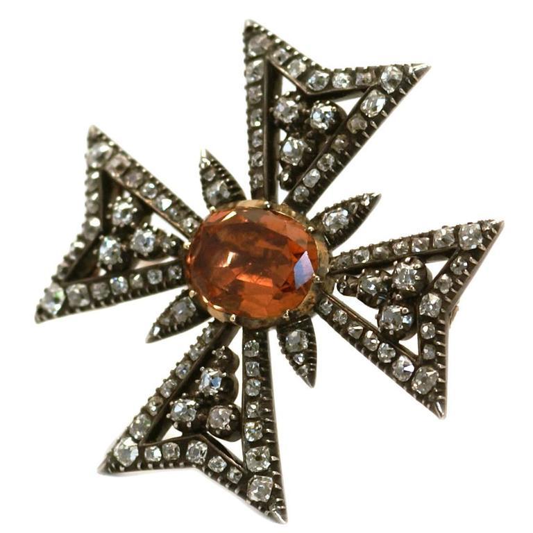 Antique Imperial topaz diamond Maltese Cross brooch