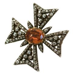 Antique Imperial topaz diamond Maltese Cross brooch