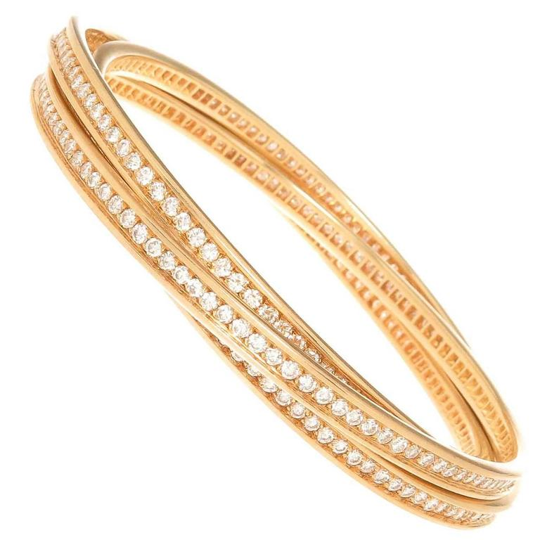 Cartier Trinity Diamond 3 band Bracelet at 1stdibs