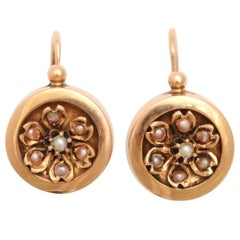 19th Century French Pearl Gold Earrings