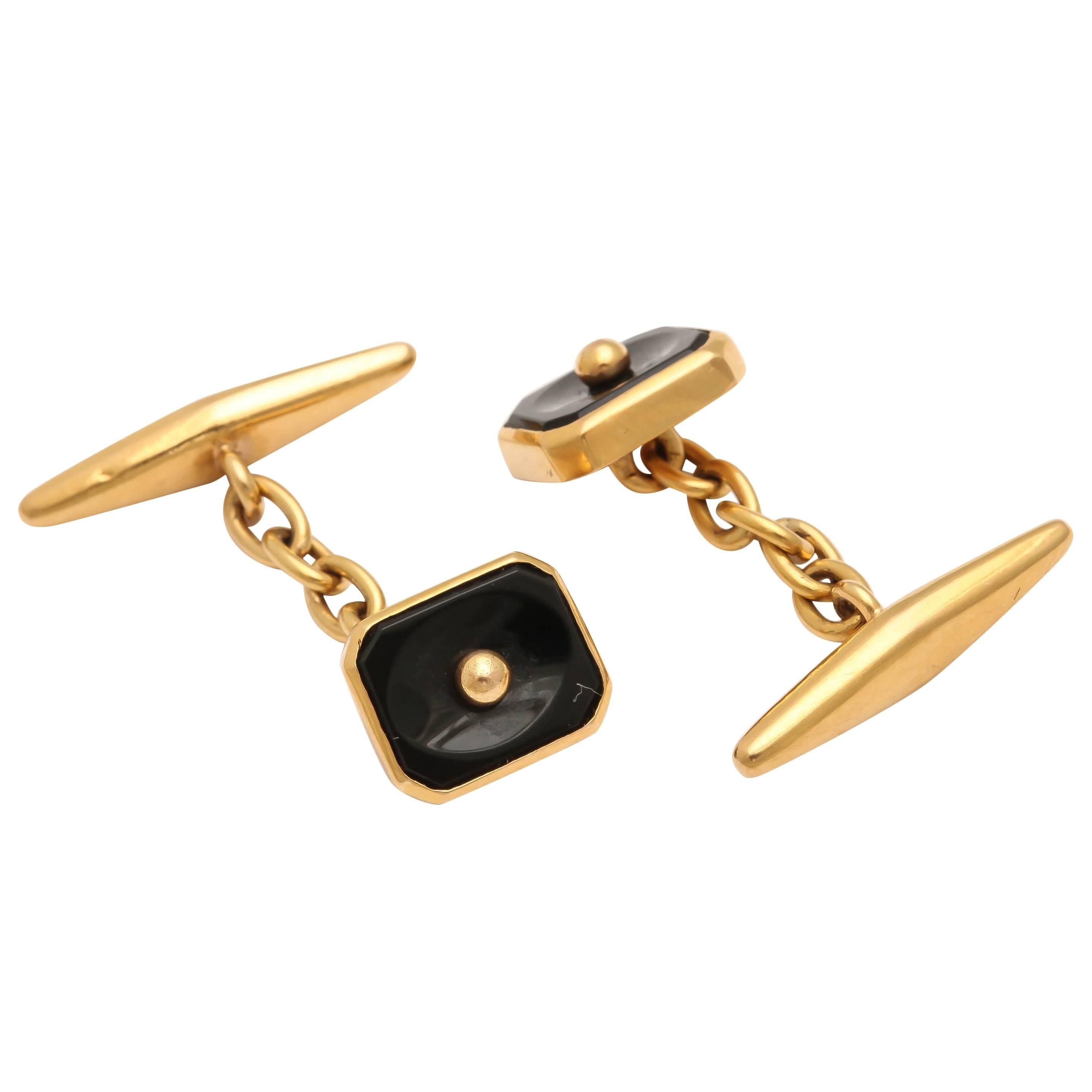 1950s Portuguese Black Onyx 18k Gold Cufflinks