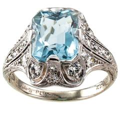 Bailey Banks & Biddle Art Deco Aquamarine Diamond Platinum Ring