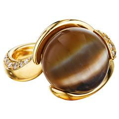 Naomi Sarna Brown Cat's Eye Opal Diamond Gold Ring