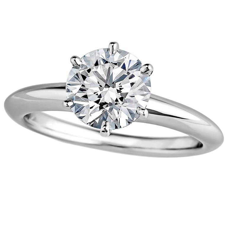 Tiffany & Co. 1.21 Carat Diamond Platinum Engagement Ring For Sale