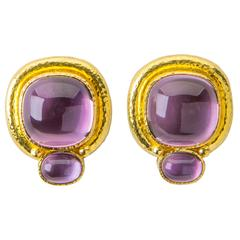 Elizabeth Locke Amethyst Yellow Gold Earclips