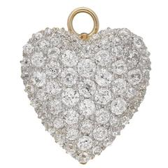 Antique heart shaped diamond Gold Platinum pendant/brooch